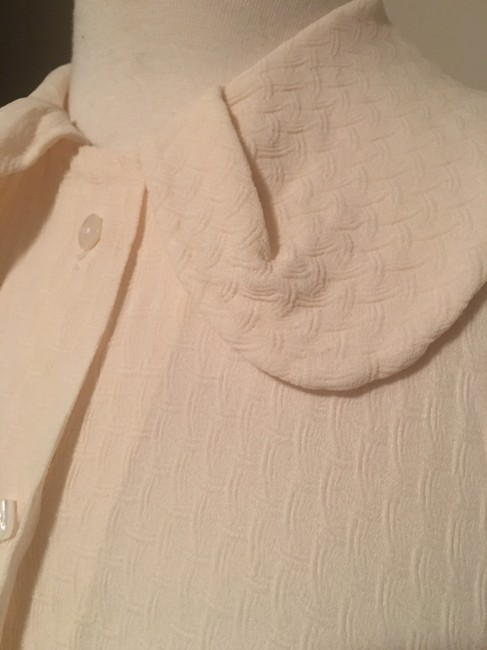 Barneys New York Round Collar 3/4 Sleeve Button Top Creme Image 5
