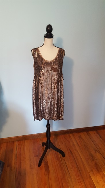 Nicole Miller Sequin Silk Shift Ombre Glowing Dress Image 3