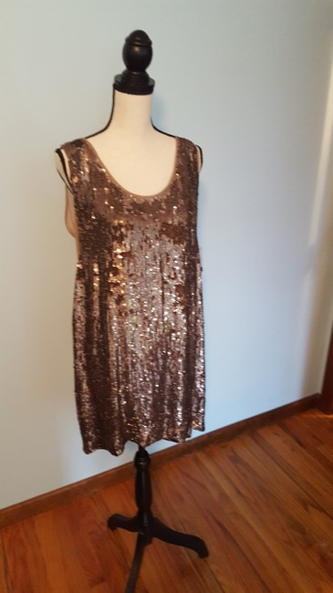 Nicole Miller Sequin Silk Shift Ombre Glowing Dress Image 9