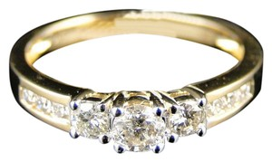 Other 14k Yellow Gold Round Anniversary Diamond 3 Stone Ring 1/2ct