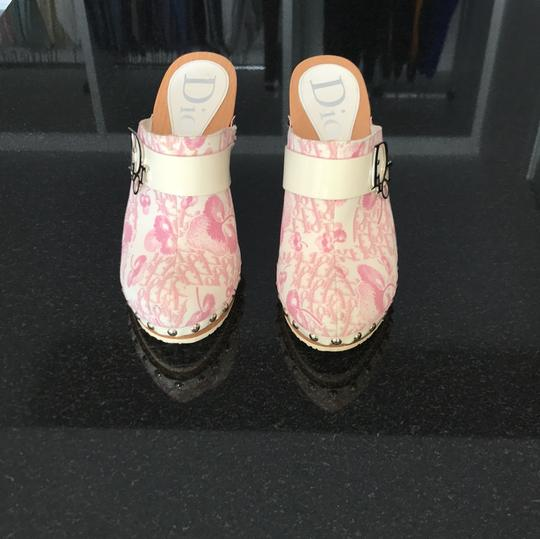 Dior blush rose pink and off white with silver detail buckle Mules Image 1