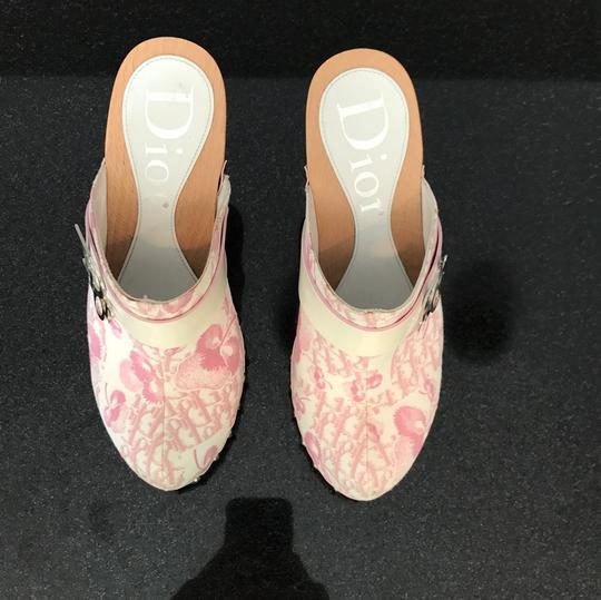 Dior blush rose pink and off white with silver detail buckle Mules Image 2