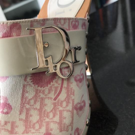 Dior blush rose pink and off white with silver detail buckle Mules Image 5