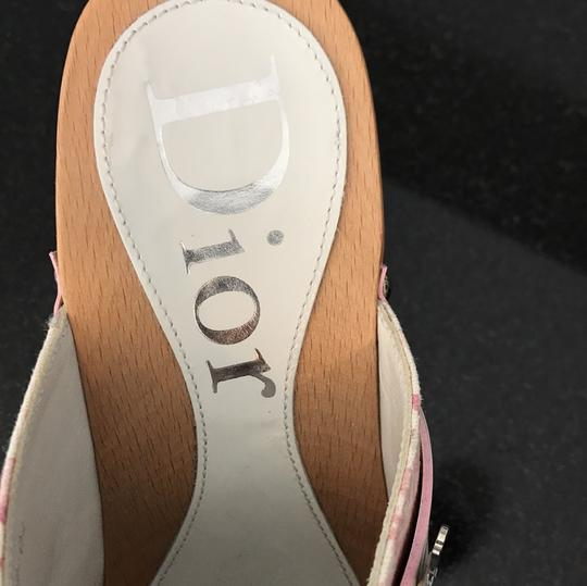 Dior blush rose pink and off white with silver detail buckle Mules Image 6
