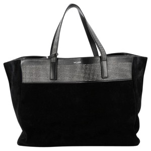 Saint Laurent Leather Suede Black Tote in Balck