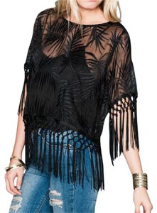 Show Me Your Mumu Swingy Fringed Swing Tunic Madison Leafy Fringe Chic Boho Top Black