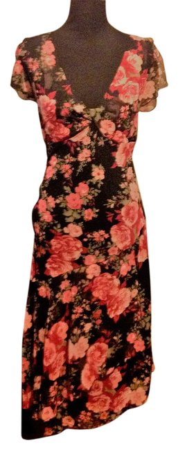 Item - Black Multi Floral V Neck Tiered Flowing Long Casual Maxi Dress Size 12 (L)