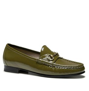 Gucci 1953 Patent Leather Horsebit Loafer Olive Flats