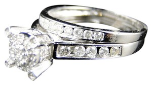 Other ROUND 10K WHITE GOLD DIAMOND ENGAGEMENT BRIDAL WEDDING RING SET 1 CT