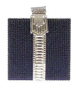 Judith Leiber Blue & Silver Leiber Crystal Present Blue,Silver Clutch