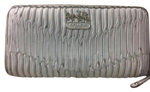 Coach * Coach Gathered Leather Gray Zip Around Wallet