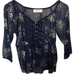 Abercrombie & Fitch Top Dark Blue with gold detail
