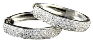 Other 14K White Gold Oval Pave Diamond Hoops Earrings 25 Mm 1.5 Ct