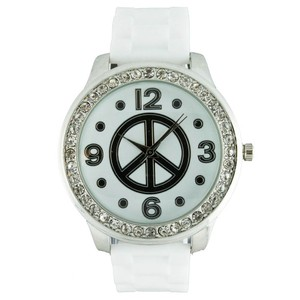Geneva Round Face Peace Sign and Crystal Accents Watch