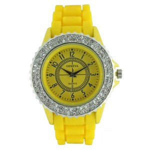 Geneva Classic Large Round Face Watch w/ Crystal Accents