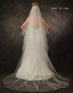 J.L. Johnson Bridals White Chapel Length Custom Made Two Layer Wedding Veil