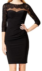 INC International Concepts Illusion Lace Ruched Dress
