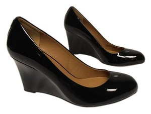 Coach Patent Leather Heel Rounded Toe black Wedges