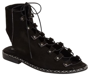 Free People Leather Upper Laces Crisscross Made In Portugal Suede Black Suede Sandals
