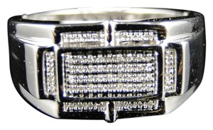 Other .925 White Gold Finish White Genuine Diamond Pave Setting Ring .25 Ct