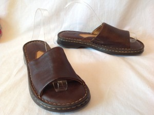 Børn Leather Open Toe Flat Slide Brown Sandals