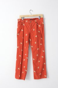 J.Crew Corduroy Cord Embroidered Coral Boot Cut Pants ORANGE