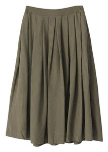 Topshop A-line Pleated Viscose Checkered Skirt Green