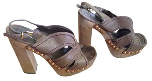 Miu Miu Designer Studded Platform Brown Sandals