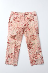 Anthropologie Odille Floral Cropped Capris Pink
