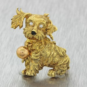 Other 18k Yellow Gold .04ctw Diamond Carved Dog Brooch Pin