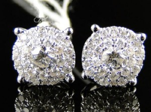 Other 14K Unisex Solitaire Look Diamond Stud Earrings 1 Ct