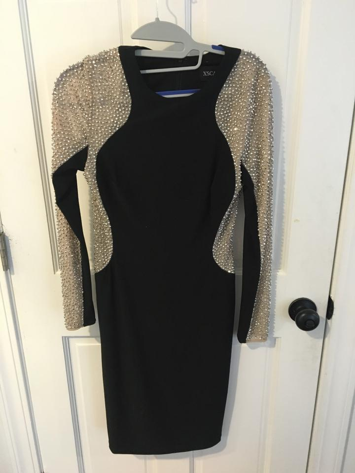43e272b905 Xscape Black and Gold Long Sleeve Mid-length Formal Dress Size 4 (S ...