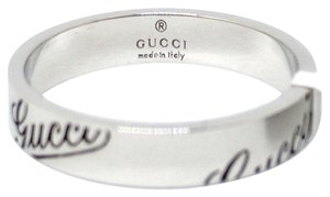 Gucci Gucci 18K White Gold Signature Thin Band Ring
