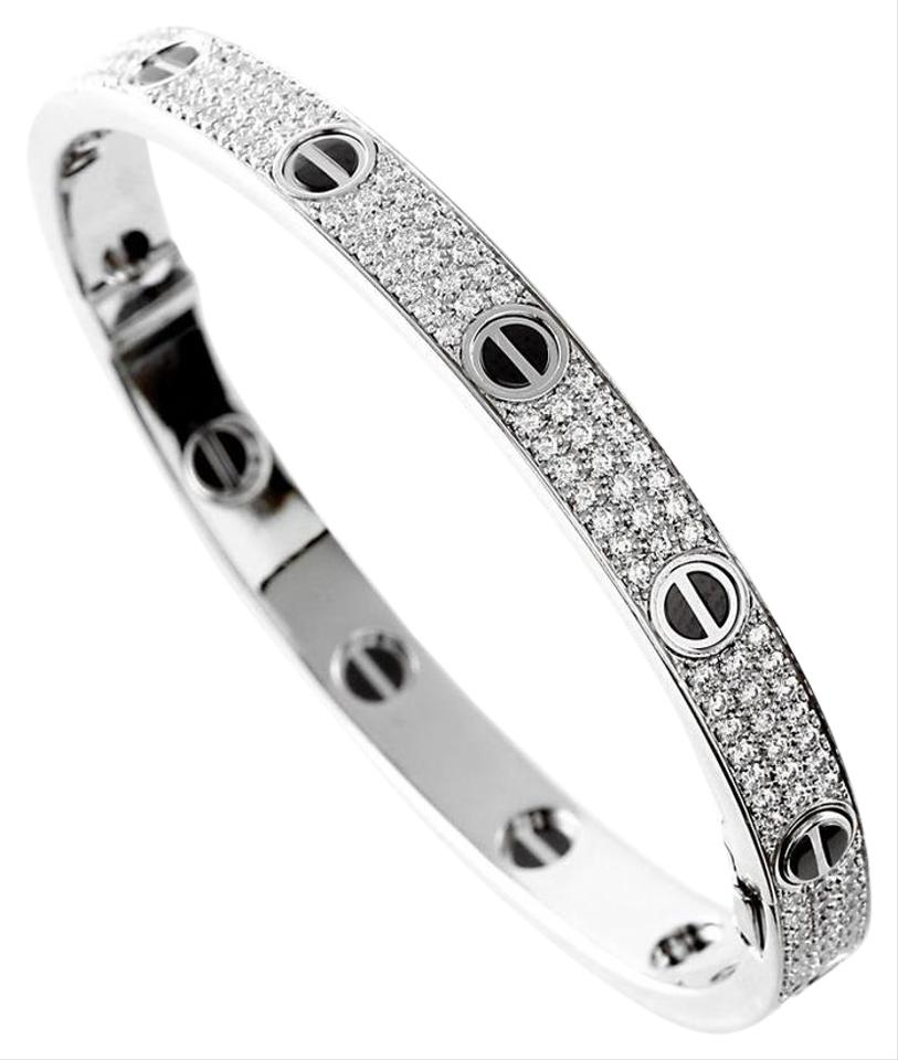 a22409d21fd89a Cartier CARTIER LOVE BRACELET, DIAMOND-PAVED, CERAMIC White gold SIZE 18  Image 0 ...