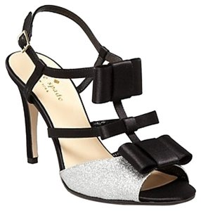 Kate Spade Bow Glitter T-strap Black/silver Sandals