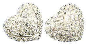 Other Ladies Heart 11 Mm Vs Pave Diamond Stud Earrings 1.0 Ct