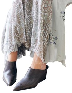 Free People Eclectic Artsy Dark Grey Mules