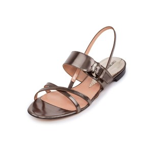 Emporio Armani Pumps Leather Sandals High-end Metallic Flats