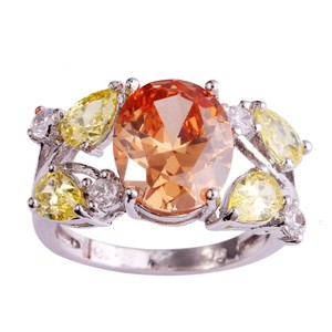 9.2.5 Gorgeous giant morganite citrine and white topaz cocktail ring size 8