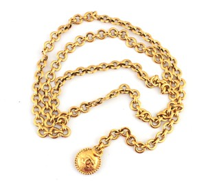 Chanel #10770 CC long double chain gold necklace belt two way