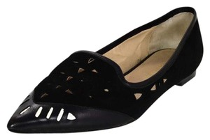 Tamara Mellon Suede Leather Perforated Black Flats