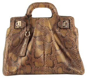 Salvatore Ferragamo Easy To Carry Genuine Python Unique Style Tote in Bronze