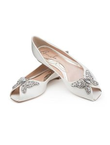 Aruna Seth Liana Crystal Butterfly Peep Toe Satin Flats Wedding Shoes