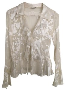 MK Solo Sheer Ruffle Applique Date Night Night Out Top