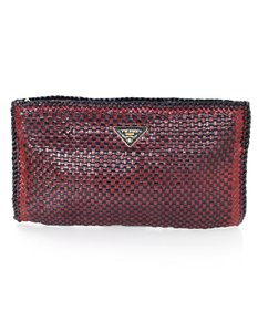 Prada Woven Leather Madras burgundy and black Clutch