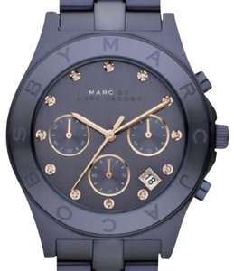 Michael Kors MARC BY MARC JACOBS BLADE BLUE STEEL CHRONOGRAPH+ROSE GOLD CRYSTAL WATCH