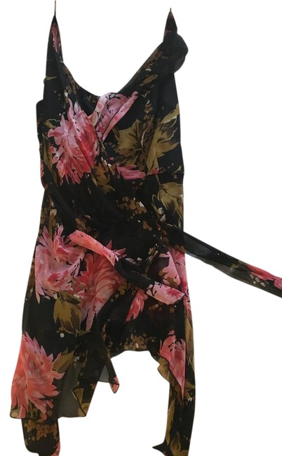 Item - Black and Multi Floral Colored Blouse Size 12 (L)