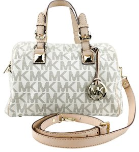 MICHAEL Michael Kors Signature Leather Pvc Satchel Cross Body Bag