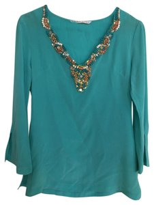 Trina Turk Beaded Summer Longsleeve Tunic