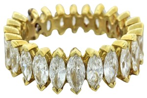 Other 18k Yellow Gold 6ctw Graduated Marquise Diamond Wedding Eternity Ring